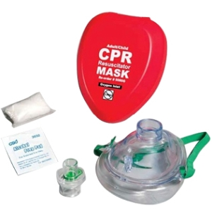 Pocket Size Resuscitation Mask in Hard Case w/O2 Port (large) - First Aid Training Bangkok
